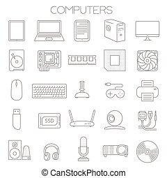 computer, tjeneste, set., dele, vektor, ikon