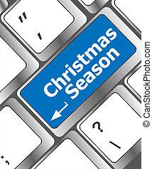 computer toetsenbord, klee, met, kerst seizoen, woorden