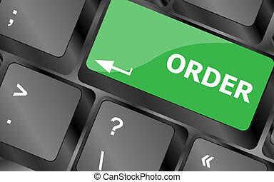 computer toetsenbord, met, bestel nu, knoop