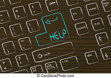 computer toetsenbord, met, bijzondere , key:, helpen