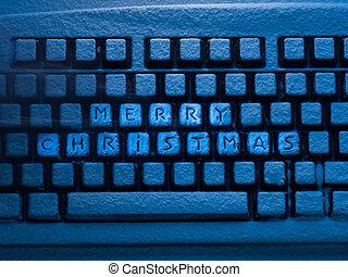 computer toetsenbord, met, lettering, zalige kerst, op, knopen, bedekt, met, sneeuw, verlicht, door, blauwe , neon ontsteken