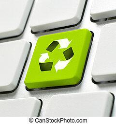 computer toetsenbord, met, recycleren symbool