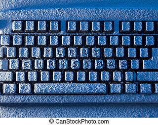 computer toetsenbord, met, tekst, zalige kerst, op, knopen, bedekt, met, sneeuw, lit, door, blauw licht