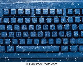 computer toetsenbord, met, tekst, zalige kerst, op, knopen, bedekt, met, sneeuw, verlicht, door, blauwe , neon ontsteken, en, sneeuwval