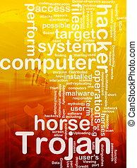 Computer trojan background concept