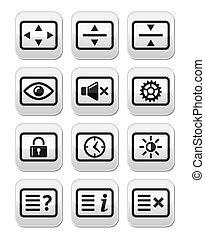 Computer tv monitor screen buttons - Vector screen buttons...
