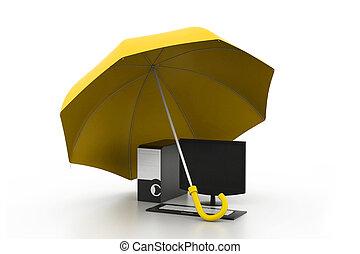 computer under umbrella