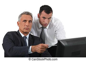 computer, uomini affari