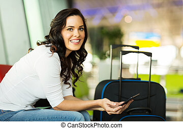 computer usa, viaggiatore, femmina, tavoletta