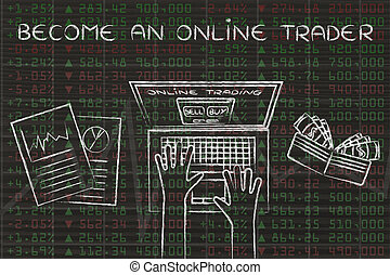 become an online trader: computer user with wallet and stats on stock market data
