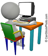 Cartoon 3D PC user works on a computer desk, useful background copy space on the blank monitor.