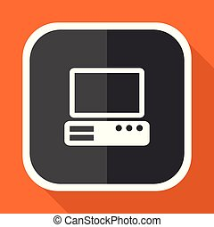 Computer vector icon. Flat design square internet gray button on orange background.