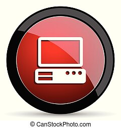 Computer vector icon. Modern design red and black glossy web and mobile applications button in eps 10