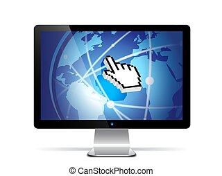 computer, vector, monitor