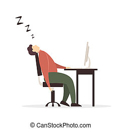 computer, vellen, slapend, achtergrond, witte , man