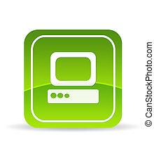 computer, verde, icona