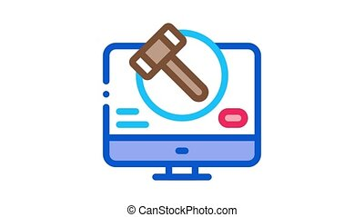 computer version of auction Icon Animation. color computer version of auction animated icon on white background