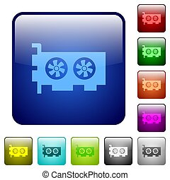 Computer video card color square buttons