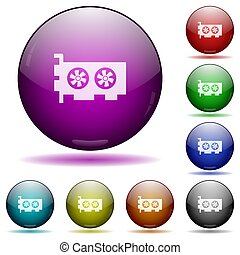 Computer video card icon in glass sphere buttons