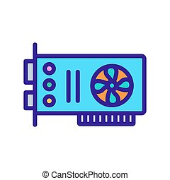 computer video card icon vector outline illustration