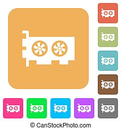 Computer video card rounded square flat icons