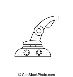 Computer video game joystick icon, outline style