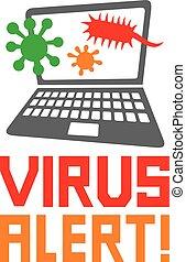computer virus alert icon (antivirus concept)