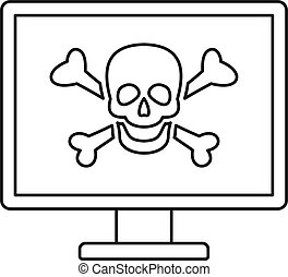 Computer virus attack icon, outline style
