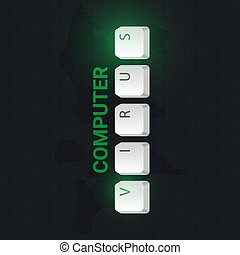 Computer Virus banner with keyboard buttons. Vector illustration.