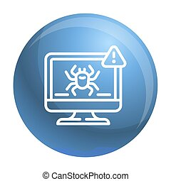 Computer virus detection icon, outline style