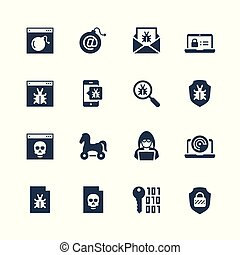 Computer virus, digital protection and hacker attack icon ...