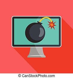 Computer virus icon, flat style