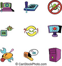 Computer virus icons set, cartoon style