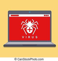 computer virus on a laptop. hacking spyware. flat vector...