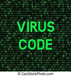 computer virus on binary code background