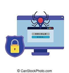 Computer virus scan avatar character