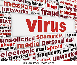 Computer virus warning message design. Malicious software...