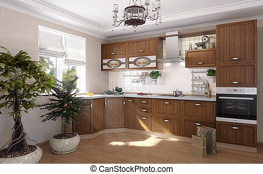 Computer visualization of furniture for kitchen, isolated on a white background