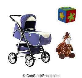 stroller and toys