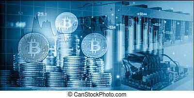 computer, voor, bitcoin, mijnbouw, en, bitcoin, munt, op, een, beursmarkt, diagrammen