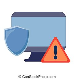 computer warning shield on white background