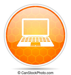 Computer web icon. Round orange glossy internet button for webdesign.