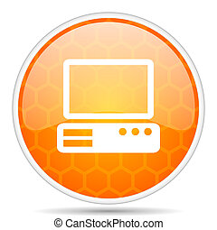 Computer web icon. Round orange glossy internet button for webdesign.