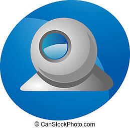 Computer webcam USB web camera round design illustration