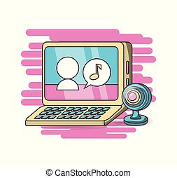 computer, webcam, kletsende, ontwerp