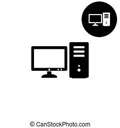 computer  - white vector icon