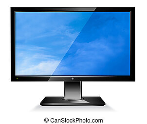 Modern wide screen LCD computer screen on a white background