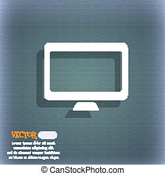 Computer widescreen monitor  icon symbol on the blue-green abstract background with shadow and space for your text. Vector