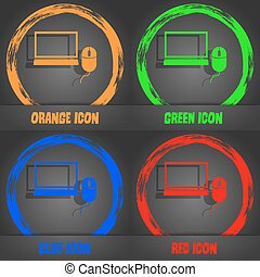 Computer widescreen monitor, mouse sign icon. Fashionable modern style. In the orange, green, blue, red design. Vector