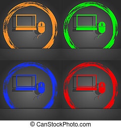 Computer widescreen monitor, mouse sign icon. Fashionable modern style. In the orange, green, blue, red design.